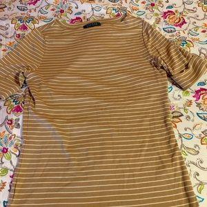 Lauren Ralph Lauren gold striped shirt. Size med.